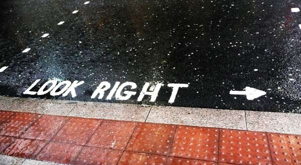 Look Right marking on road, Canary Wharf