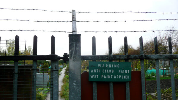 Anti-climb paint, Mudchute allotments