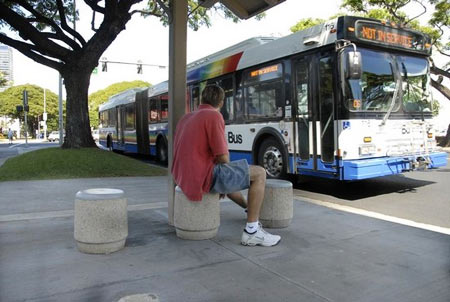 Bus stop stools, Honolulu. Image from www.honoluluadvertiser.com