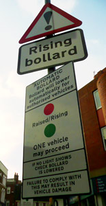 Rising bollard sign