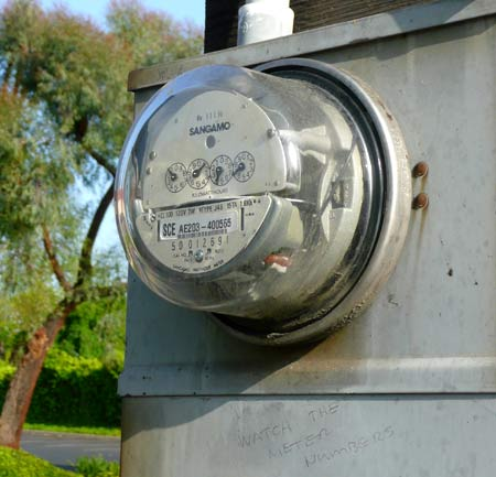 A publicly visible electricity meter in Claremont, CA