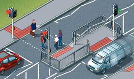 Pedestrian crossing staggered to cause users to face oncoming traffic