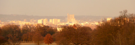 West London from Richmond Park - Trellick Tower in the centre